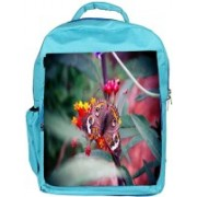 Snoogg Eco Friendly Canvas Abstract Unique Butterfly Designer Backpack Rucksack School Travel Unisex Casual Canvas Bag Bookbag Satchel 5 L Backpack(Blue)
