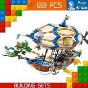 AlanWhale Medieval Lion Royal Knights Zeppelin Human VS Night Elf Goblin Enlighten Building Kit 2316 (669 Piece)