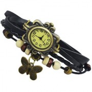 Da My shop Analog Yellow dial Butterfly Bracelet leather strap womens Watch -DM