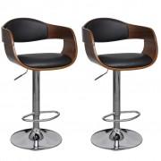 vidaXL Бар столове, 2 бр, огъната дървесина и изкуствена кожа