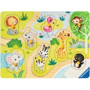 Puzzle din lemn Ravensburger - Animale Zoo, 8 piese (03687)