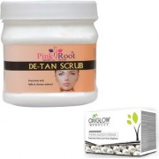 PINK ROOT DE-TAN SCRUB 500GM WITH OXYGLOW PEARL BLEACH 50GM