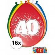 Shoppartners Ballonnen 40 jaar van 30 cm 16 stuks + gratis sticker