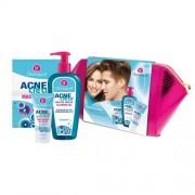 Dermacol AcneClear Cleansing Gel подаръчен комплект гел 200 ml + хидратиращ гел- крем 50 ml +маска за лице 2 x 8 g+ козметична чантичка за жени
