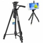 Pachet Trepied foto telescopic Weifeng WT-3560 universal 64-167 cm + Trepied flexibil cu suport pentru telefon mobil sau aparat foto Pufo