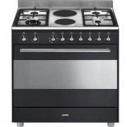 Smeg 90cm Concert Cooker With 6 Burner Gas/Electric Hob - Anthracite black