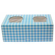 Caja 2 Cupcakes con Soporte 19,5x10x7,5cm Azul (160 Uds)