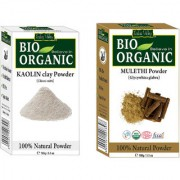 Indus Valley Bio Organic Kaolin Clay(China Clay) + Mulethi Powder(Licorice Root) Combo-Set of 2