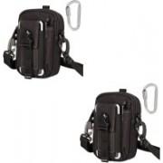 House Of Sensation Set of 2 Tactical Molle Pouch Universal Outdoor Sport Utility Gadget Belt Waist Bag(Black)