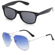Royal Son Black Wayfarer and Blue Aviator Unisex Sunglasses Combo
