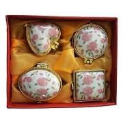 Porcelain Pink Flower Different Shape Kumkum/Sindoor Box Set