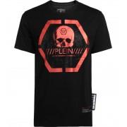 Philipp Plein T-Shirt Philipp Plein Platinum Cut nera stampa metal rosso
