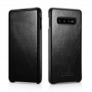 ICARER Curved Edge Vintage Genuine Leather Case for Samsung Galaxy S10 Plus - Black