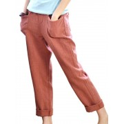 Meco Women Solid Color Pocket Elastic Waist Pants