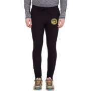 Cliths Men's Black Round Zeep Printed Track Jogger
