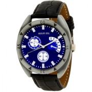 Golden Bell Men'S Black & Blue Round Genuine Leather Strap Wrist Watch (443Gb)
