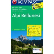 Wandelkaart 77 Alpi Bellunesi | Kompass