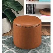 AZAZO Leatherette Round Ottoman in Brown Colour