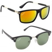 Tazzx Clubmaster Sunglasses(Green, Red)