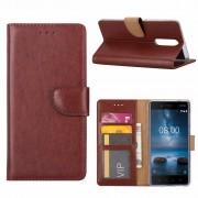 Luxe Lederen Bookcase hoesje voor de Nokia 8 - Bruin