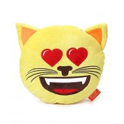 "Emoji Plush Pillow - Best Gift for Friends, Family, Home, Car & Loved ones | Emoticons as Stuffed Soft Toys | Premium Quality - Import | Certified Safe (EN71) & Official ""emoji"" - The Iconic Brand by My Baby Excels (Emoji Cat In Love)"
