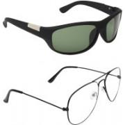 Zyaden Wrap-around, Aviator Sunglasses(Green, Clear)