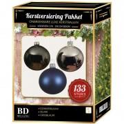 Bellatio Decorations 133 stuks Kerstballenmix zilver-grijsblauw-blauw voor 180cm boom - Kerstbal