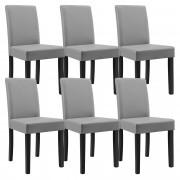 [en.casa]® 6 sillas tapizadas (gris claro) (alta calidad) con patas de madera maciza / piel sintética / elegante / Set ahorro