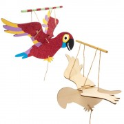 Baker Ross Parrot Wooden Puppet Kits - 3 Wooden Puppets On String. Wooden Parrot Marionettes. Size 24.5cm.