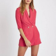 River Island Womens Pink faux pearl button tuxedo playsuit