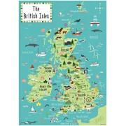 Artifact Puzzles - Bek Cruddace British Isles Map Wooden Jigsaw Puzzle