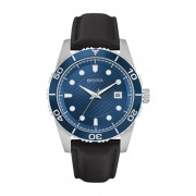 Bulova Mens Quartz Leather Strap Watch 43mm BLACK