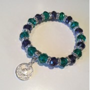 Scottish Thistle Bracelet Purple Green Crystal Charm Stretch
