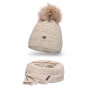 Komplet PaMaMi, czapka i szalik - Beżowy