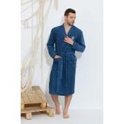 PECHE MONNAIE Махровый мужской халат из хлопчато-бамбукового материала серо-синего цвета PECHE MONNAIE №405 SEAMAN Серо-синий