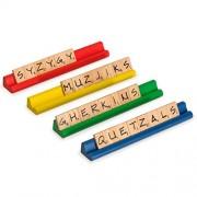 Scrabble Word Architect Kit, Deluxe Kit of 4 Wooden Multi-Color Scrabble Racks and 200 Wooden Scrabble Tiles