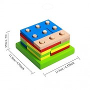 Wooden Educational Preschool Shape Early Developmental Geometric Board Block Stack Sort Chunky Puzzle Toys, Birthday...
