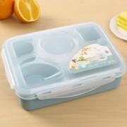 1000ml 5 cellen gezonde plastic lunch box duurzame volwassenen Lady Kid Lunchbox magnetron lunch Bento box (blauw)