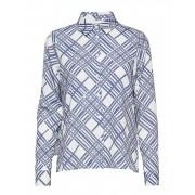 MAUD Printed Cape Blouse Långärmad Skjorta Blå MAUD