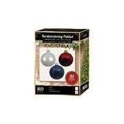 Bellatio Decorations Witte/donkerblauwe/rode kerstballen pakket 91-delig voor 150 cm boom