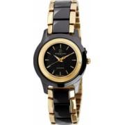 Ceas de dama Swiss Made Negru cu auriu Cadran Negru 1 diamant curea piele neagra Christina Watches Collect