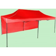 Nůžkový stan 3x6m ocelový, Červená, 1 boční plachta