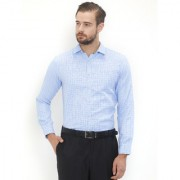 EQUINOX Sky Blue Poly Cotton Full Sleeves Checkered Regular Fit Formal Shirt For Men