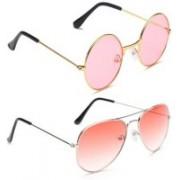 Just Style Round, Aviator Sunglasses(Pink)