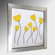 Yellow Poppies Embellished Glass Art.