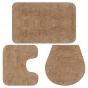 vidaXL Conjunto tapetes de casa de banho 3 pcs tecido bege