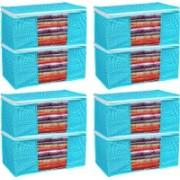 Porchex Presents Non Woven Saree Cover Storage Bags Saree Organizer for Wardrobe/Organizers for Clothes/Organizers pack of 8 (90 GSM) Clothes cover-118_Blue(Turquoise)