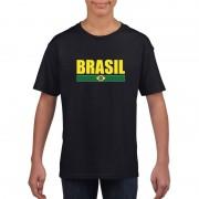 Shoppartners Zwart / geel Brazilie supporter t-shirt voor kinderen