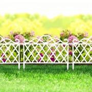 Virágágyás szegély / kerítés fehér , műanyag 45 x 35 cm
