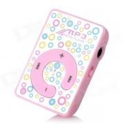 mini boton de presionar reproductor de MP3 w / TF - rosa